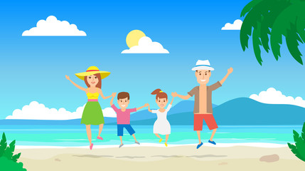 happy family jumping on tropical beach.summer vacation