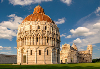 Piazza dei Miracoli, with the Basilica and the leaning tower - Italy.