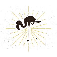 Retro flamingo silhouette