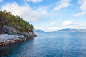 Fjord in Norway - nature background, view from ferry deck