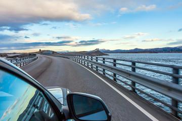 Fantastic bridge through fjord on the Atlantic road in Norway