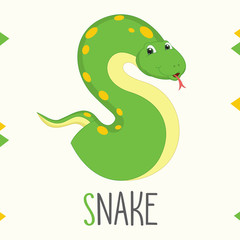 Illustrated Alphabet Letter S And Snake
