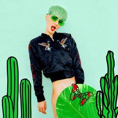 Stylish Tomboy Model Fashion collage art. Cactus lover.  Pop art