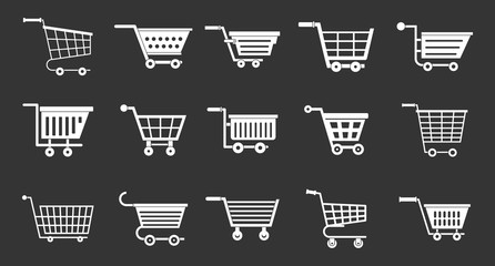 Shop cart icon set vector white isolated on grey background