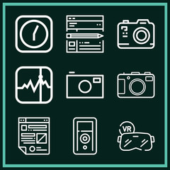 Set of 9 digital outline icons