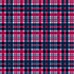 Seamless checkered plaid pattern background. Blue and red plaid .