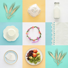Top view collage image of dairy products and fruits. Symbols of jewish holiday - Shavuot.