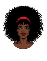 Vector illustration of African American type woman's face with curly hair. Beautiful girl portrait with smile