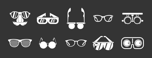 Glasses icon set vector white isolated on grey background