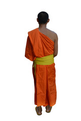 Buddhist monk walk receive food in the morning, isolated monk on white background