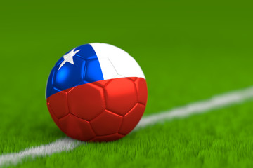 Soccer Ball With Chilean Flag 3D Render