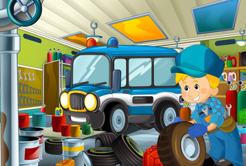 cartoon scene with garage mechanic working repearing some vehicle - police car - or cleaning work place - illustration for children