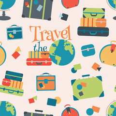 Vector World Travel Seamless Pattern Background