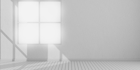 3D stimulate of white room interior and wood plank floor with sun light cast shadow on the window and wall,Perspective of minimal design architecture