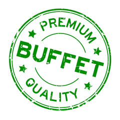 Grunge green premium quality buffet round rubber seal stamp on white background