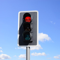 Important traffic sign for vehicles and pedestrians. Red light means danger, stop!
