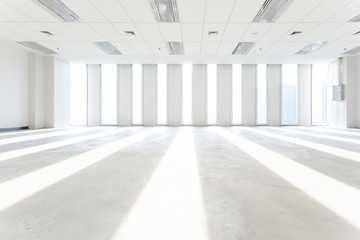 empty room and cityscape of modern city from window, Large Hall, Store, interior,Lab, perspective wide angle.