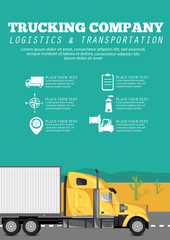 Trucking company poster with container truck