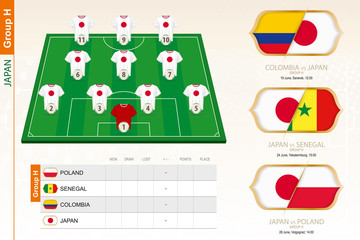 Japan football team infographic for football tournament.