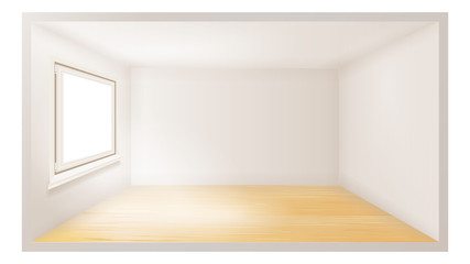 Empty Room Vector. White Wall. Plastic Window. Architecture Apartment. 3d Realistic Illustration