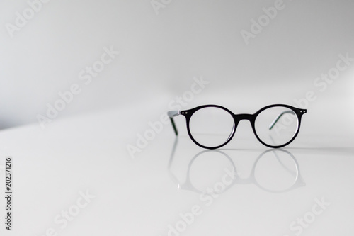 b9efb4c1617c Black Eyeglasses closeup. Eye glasses.Modern style eyeglasses. Round glasses  with transparent lenses. Vintage Glasses on white background.