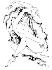 Girl in meditation.Yoga, meditation, mindfulness, Zen. India, Boho, Arabic.Ethnic style. Tattoo. Energy practices. Tantra. Spirituality. Vector.