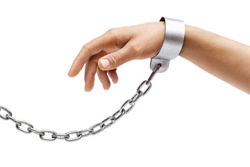 Man's hand in chains isolated on white background. Close up, concept against violence