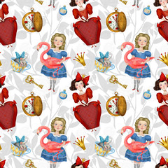 Alice in wonderland, seamless background with Queen and Doremouse