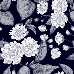 Seamless background with flower Chinese plum.