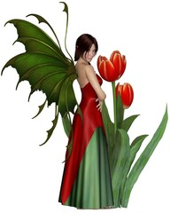 Dark Haired Red Tulip Fairy - fantasy illustration
