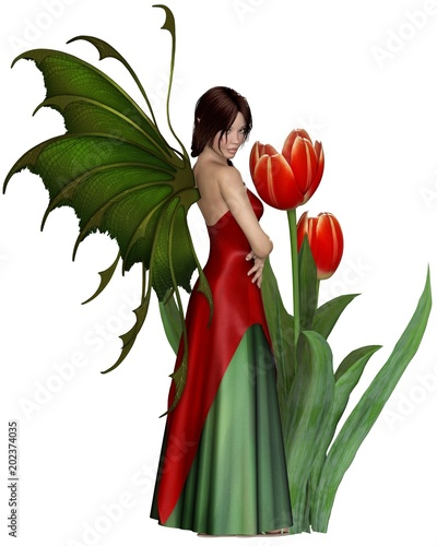 """Dark Haired Red Tulip Fairy - fantasy illustration"" Stock photo and royalty-free images on Fotolia.com - Pic 202374035"