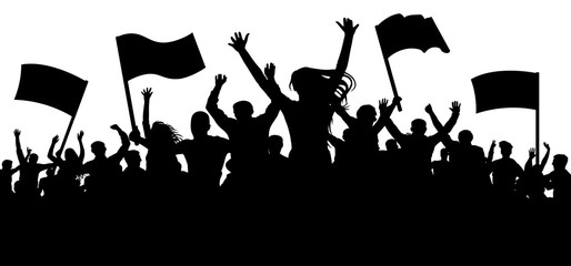 Crowd of people with flags, banners. Cheerful applause. Sports, mob, fans. Demonstration, manifestation, protest, strike, revolution, riot, propaganda. Silhouette background vector