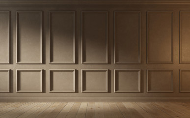 Classic empty room with wood floor and old brown wall. 3d illustration