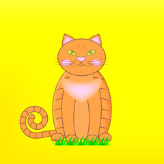 Cartoon character orange British cat on green grass. Red Grumpy British male cat on yellow background. Vector Illustration EPS10.