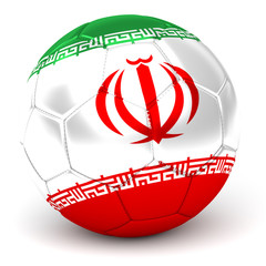 Soccer Ball With Iranian Flag 3D Render