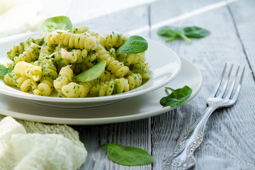 delicious pasta dish with creamy spinach sauce decorated with spinach leaves on grey wooden background