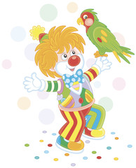 Funny circus clown playing with his colorful parrot, vector illustration in a cartoon style