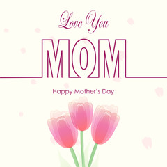 Happy Mother's day text on pink Paper art background