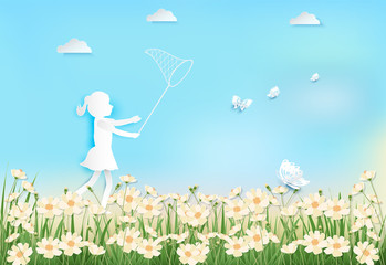Girl happiness with catching butterflies in cosmos flowers field paper art, paper craft style illustration background