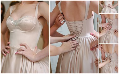 Wedding collage - beautiful beige backless dress on bride.
