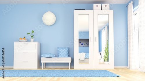 Blaues Schlafzimmer Mit Mobeln Stock Photo And Royalty Free Images