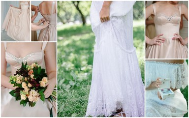 Vintage wedding dresses collage. Historical gowns.
