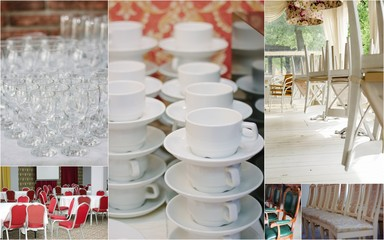 Wedding rentals collage - chairs and crockery for lot of guests.