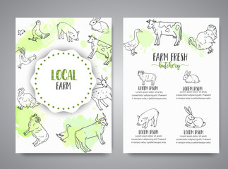 Hand drawn farm animals brochure. Local farm card. Farming illustration. Vector farm elements. Hand sketched goose, rooster, chicken and turkey