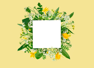 Yellow background with wild flowers composition