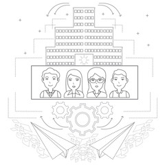 Team work and communication process concept. Black linear icons set. Vector illustration.