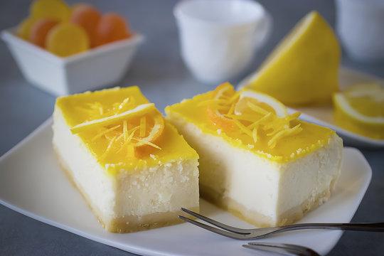 Homemade lemon cheesecake.