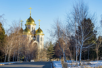 Landscape with golden domes of the church Orthodox church.