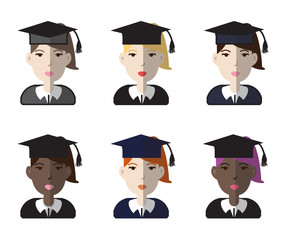 Set of six female avatar graduate icons. Different skin tones models. Vector illustration.