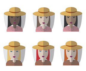 Set of six female avatar florist / beekeeper icons. Different skin tones models. Vector illustration.